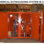 Dry chemical extinguishing system in cabinet