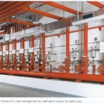 Main water distribution manifold and alarm valves